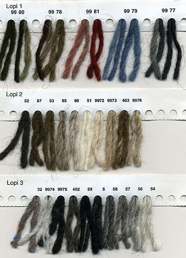 Reynolds Lopi knitting yarn color card