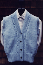 Mari Sweaters Cabled V-neck Vest