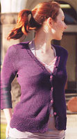 Jo Sharp SOHO SUMMER DK COTTON knitting yarn  Jo Sharp Fitted Cardigan sweater knitting pattern  Jo Sharp Pattern Book Nine - Saturday