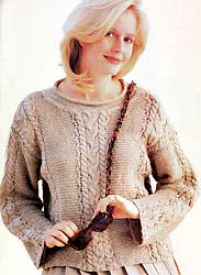 Reynolds Cable & Garter Pullover Knitting Kit, Reynolds soft linen knitting yarn
