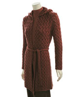 Adrienne Vittadini Trina Cabled Hooded Coat